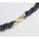 Collier en perles d'hématite et de biwa