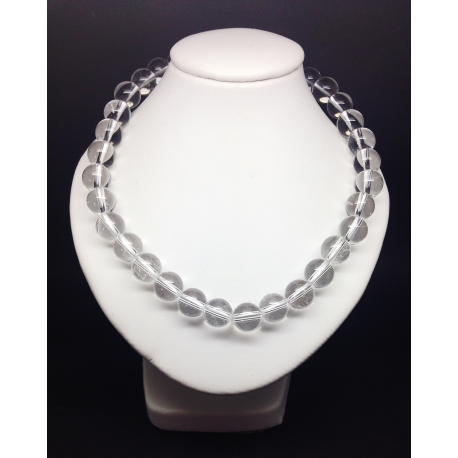 Collier perles Cristal de roche 8mm