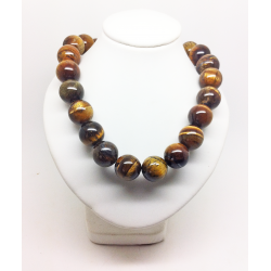 Collier perles Oeil de tigre 12mm